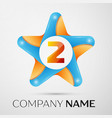 number two logo symbol in the colorful star on vector image