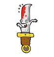 comic cartoon frightened knife vector image