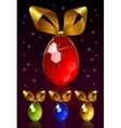 jewel egg with golden bow vector image vector image