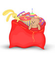 christmas red sack with gifts and toys cute vector image