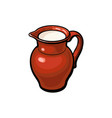 clay pot jug full of cow goat sheep milk vector image