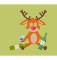 Deer with Bottle of Wine Isolated on Green vector image