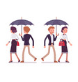 lady and gentleman walking together under umbrella vector image