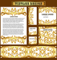 set of templates for design with vintage gold orna vector image