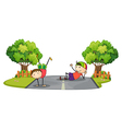 Two kids playing in the middle of the road vector image