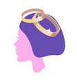 women profile with ring vector image