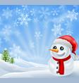 christmas snowman in snowy scene vector image
