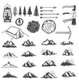 set of mountains icons hiking elements design vector image