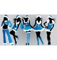set of christmas girls- vector image