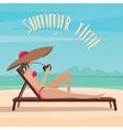 Girl lies on a beach near the sea vector image