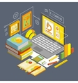 Concept for Online Education Flat 3d vector image