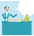 man behind counter talk show about money cash on vector image