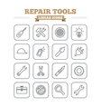 Repair tools linear icons set Thin outline signs vector image