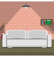 Sofa on the brick wall background loft style vector image