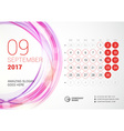 Desk Calendar for 2017 Year September Week Starts vector image