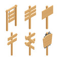 isometric set of a wooden signboards empty vector image