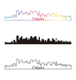 Calgary skyline linear style with rainbow vector image