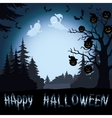 Halloween landscape pumpkins and ghosts in the vector image