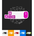 keypad paper sticker with hand drawn elements vector image