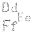 Alphabet in style of a sketch the letters D E F vector image