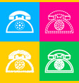 retro telephone sign four styles of icon on four vector image