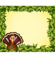 A turkey in a leafy frame border vector image