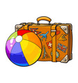 travel suitcase with colorful labels and rainbow vector image
