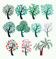 collection of green trees set of abstract vector image