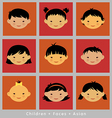 set cute faces Asian children flat style vector image vector image