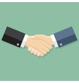 Businessmen handshakeon green background vector image vector image