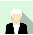 Woman with gray hair in a black suit icon vector