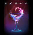 disco neon cocktail background vector image