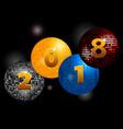 new years twenty eighteenth on disco balls vector image