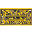 Vintage California Label Plaque Black and Gold vector image