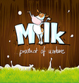 design with milk cow wood and grass vector image