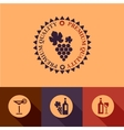 flat wine menu icons set vector image vector image