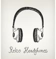 hand drawn retro headphones earphones isolated vector image
