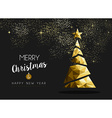 Merry christmas happy new year golden triangle vector image