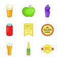 beverage icons set cartoon style vector image