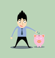 business man putting money in the pig vector image