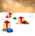 gift boxes with pine and Christmas balls on snow vector image