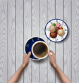 hands holding cup of coffee break vector image