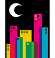 Multicolored transparency night city vector image