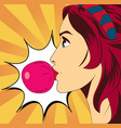 pop art woman with gum vector image