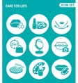 set of round icons white Care for lips lipstick vector image