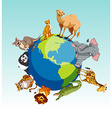 Wild animals around the earth vector image