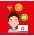 woman credit card sale vector image