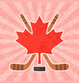Hockey in Canada - Canadian Maple Leaf vector image