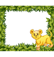 A young tiger in a blank leafy signage vector image