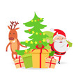 santa claus and deer near decorated x-mas tree vector image vector image